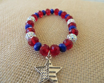 Red White And Blue Flag Star Charm Stretch Bracelet