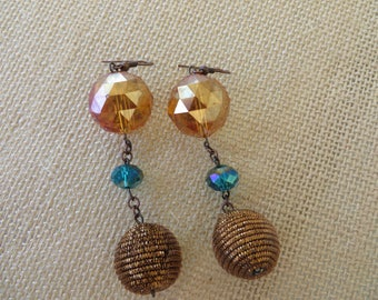 Triple Drop Beaded Gold And Teal Toned Statement Earrings
