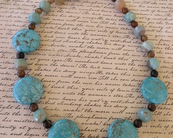 Turquoise Amazonite And Brown Agate Beaded Necklace