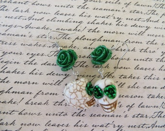 White Skulls With Green Roses Drop Earrings
