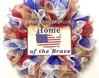 USA Fourth of July Front Door Wreath, Home of the Brave Door Sign, Welcome Decor, Hostess Gift for Military Family, American Flag Memorial