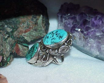 Navajo RR Turquoise Long Ring Old Pawn Massive Sterling 24.1g Vintage Sz 7.5 Signed RR