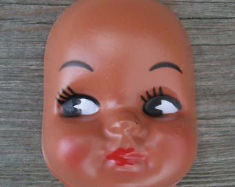 Lot C Vintage 3 Inch Medium Brown Skin Plastic Doll Face Mask (Semi Gloss Finish)