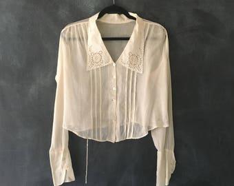 1920s Victorian Antique Romantic Long Sleeve Lace Blouse Sheer Cotton Boho Hippie Top Ladies S/M