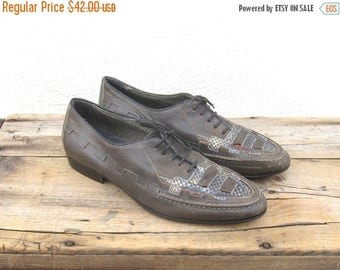 SALE Grey Leather Huarache Brogues Oxford Mens Size 7.5, Ladies 8.5