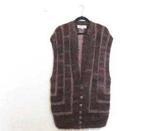 20% Off Sale 80s Mohair Purple Sweater Vest Duster Shawl Cardigan Fuzzy Boho Hippy Avant Garde Modern Ladies O/S