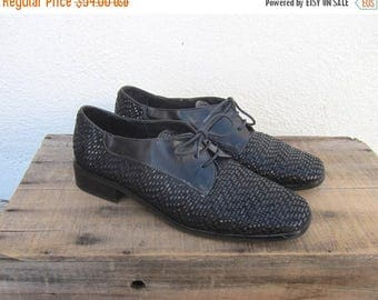 20% Off Sale 90s Square Toe Brogue Oxfords Woven Leather Flats Lace Up Made in Italy by Sesto Meucci Ladies Size 9