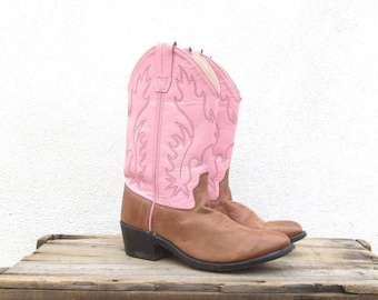 20% Off Sale 90s Pink Cowboy Western Boots Ladies Size 6-7
