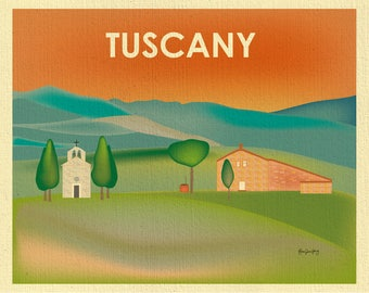 Tuscany skyline, Tuscany Print, Tuscany art, Tuscany Italy art, Tuscany Canvas, Tuscany Poster, Italy art, Rustic art, style E8-O-TUS