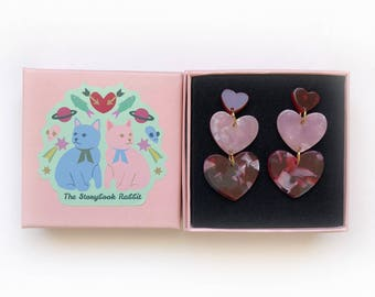 Large Marbled Valentine Dangles - Triple Hearts