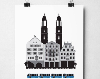 Zurich, Digital download, Scandinavian design, skyline, art