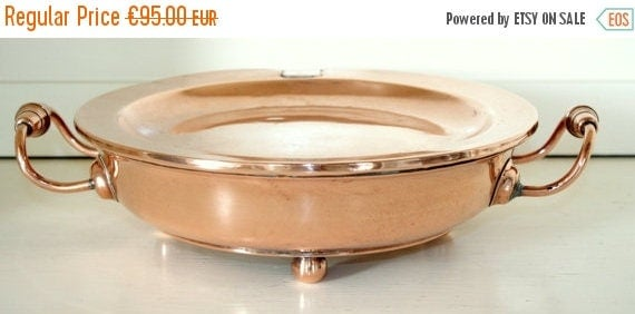 Dinner Plate Warmer ~ Off sale antique french copper plate warmer with engraved