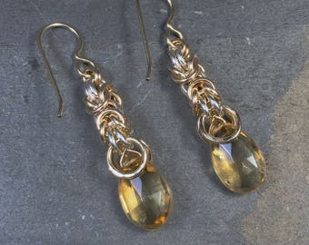 Signature Deirdre Earrings 14k GF with Sterling Silver and Natural Citrine