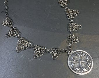 OOAK Shieldmaiden Necklace Oxidized Sterling Silver with Medieval Textured Pendant European 4 in 1 Chainmaille Necklace