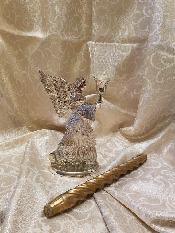 Christmas Angel Candle Holder - Silverplate Angel - International Silver Co 1994 - Christmas Display - Table Ornament