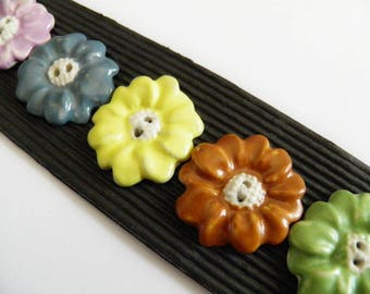 Five Ceramic Flower Buttons Colorful