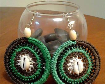 Earthy Crocheted Earrings with Seashells
