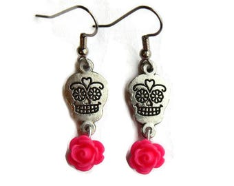 Sugar Skull and Hot Pink Rose Earrings - Pink and silver - Day of the Dead - Dia de los Muertos - Halloween - Rockabilly - Nickel Free