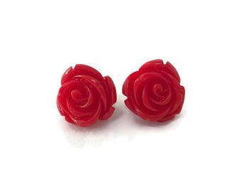 Red Rose Earrings, Medium Size, Resin Flower Studs, Vintage Style, Retro, Rockabilly, Pinup, Floral, Feminine