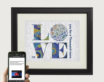 LOVE QR code art, A Thousand Years by Christina Perri, personalized wedding anniversary gift for him/ husband - first dance song lyric print
