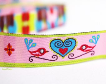 Bird ribbon Heart Embroidery 1.6 cm large - 1 meter - Pink or Blue