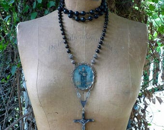 SOLD LISTING:  Antique Gothic Memento Mori Saint Holding Skull Rosary Necklace, Old World Adornment, by RusticGypsyCreations