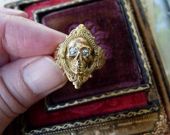 Antique Georgian Victorian Gothic Memento Mori Skull Ring, An Alchemical Talisman for the Passionate, offered by RusticGypsyCreations