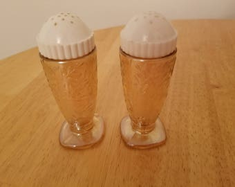 Vintage Carnival Glass Salt and Pepper Shakers