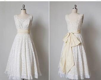 30% OFF SALE vintage 1950s dress / 50s lace dress / white lace dress / Daffodil dress