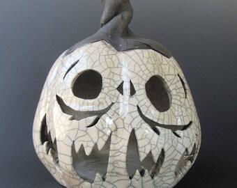 White Crackle Raku Jack-o'-lantern Pumpkin Halloween