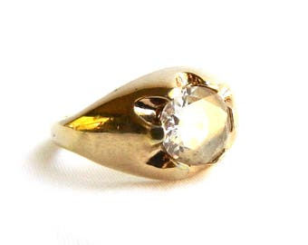 Vintage Art Deco Men's 18K Gold Plated CZ Ring - Gypsy Ring - Size 13 - Signed UNCAS