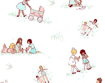 Dolls in spring from the Best of Sarah Jane fabric collection for Michael Miller Fabrics
