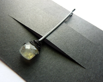 Labradorite Square Bobby Pin - Gemstone Bobby Pin