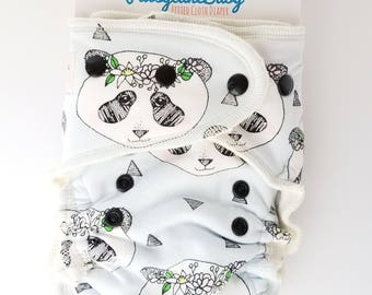 Fitted diaper, organic, hybrid, fitted, cloth diaper, pandas, flowers, crowns, boho, triangles
