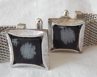 Dante snowflake obsidian chainmail wrap around cufflinks