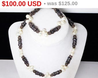 Spring Fling Sale Sterling Silver & Pearl Demi Parure - Bracelet and Necklace Set - Genuine Cultured Oval White Pearls - Filigree Black S...