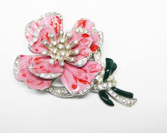 Pink Enamel Flower Brooch - Vintage 1930's 1940's Rhinestone Floral Pin - Clear Rhinestones Pansy or Peony Spring Flowers - Gift for Her