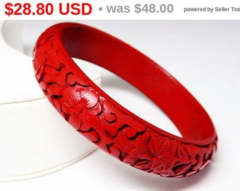 Summer Sizzler Sale Red Carved Cinnabar Bracelet - Vintage Mid Century Floral Bangle Bracelet - Cinnabar Bangle - Asian Carved Jewelry
