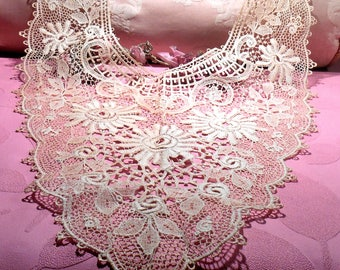 Antique Lace French Victorian Cotton Chemical Lace Modesty Ornate