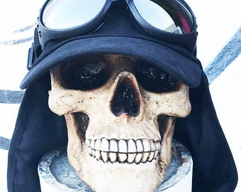 BURNING MAN Cap with Goggles - 2 pc Extreme Conditions BLACK Playa Desert Sun Boonie Neck 'Flap Cap' Hat with Goggles - Steampunk Hat Set