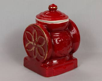 Red Cookie jar, Vintage jar, Red coffee grinder, House of Webster coffee mill, Made in USA Eastland Texas, Red and Gold Bisquit Jar, Signed
