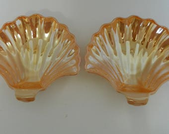Fire King Anchor Hocking Peach Lustre Sea Shell Candy Dessert Soap Dishes Two