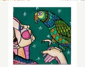 45% Off Today- Parrot Bird Tile Ceramic Coaster Print of painting by Heather Galler  Gift