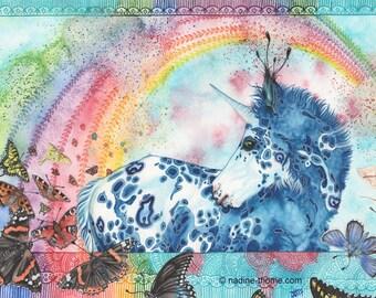 Finnitiá, original watercolor painting, unicorn foal, appaloosa pony, horses, fairy-tale illustration, boho art, bohemian