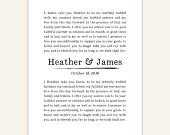 Custom Wedding Vows Print, Personalized typography, giclee art print