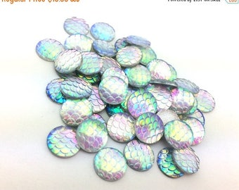 75% OFF - 100pcs Rainbow Mermaid Supplies - DIY Mermaid Costume - Scale Cabochons - 12mm Wholesale Cabochons - Flat Back Glue On Round F57