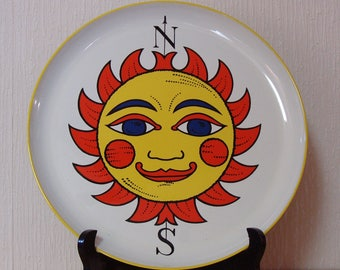 1970'S Style Sun Face Plastic Round Tray