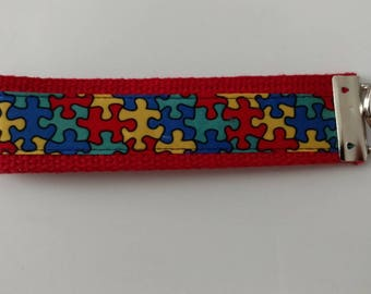 Puzzle Pieces Autism Awareness Key Fob Wristlet Key Chain - Ribbon on Red Cotton Heavyweight Webbing