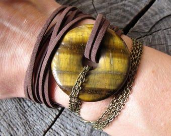 Leather Wrap Bracelet ~ Gemstone and Leather Wrap Bracelet ~ Gemstone Wrap Bracelet ~ Tigers Eye Bracelet ~ Brown Leather Wrap Bracelet