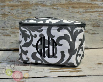 Monogrammed Preppy Cosmetic Case, Toiletry Bag, Makeup Bag - Gray Scroll